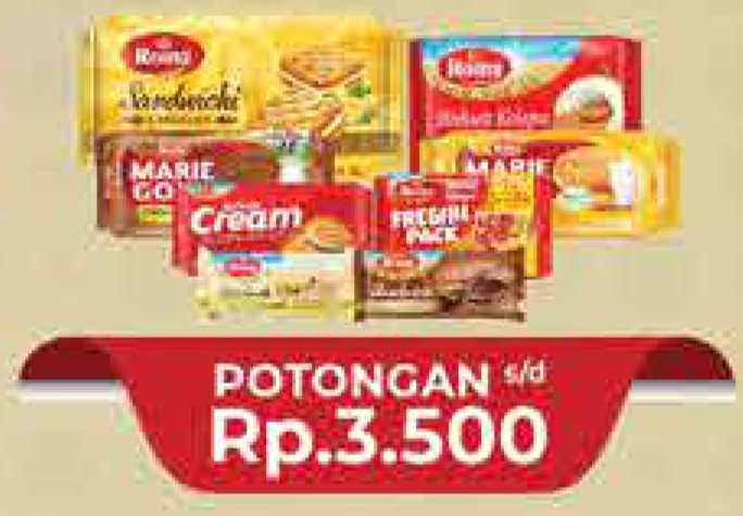Promo Harga ROMA ROMA Marie Gold / Sandwich / Coconut Biscuit  - Hypermart