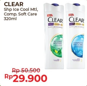 Promo Harga CLEAR Shampoo Complete Soft Care, Ice Cool Menthol 320 ml - Alfamart