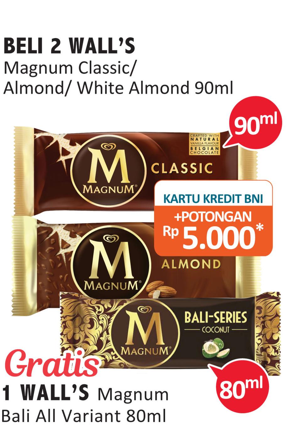 Promo Harga WALLS Magnum Almond, Classic 90 ml - Alfamidi