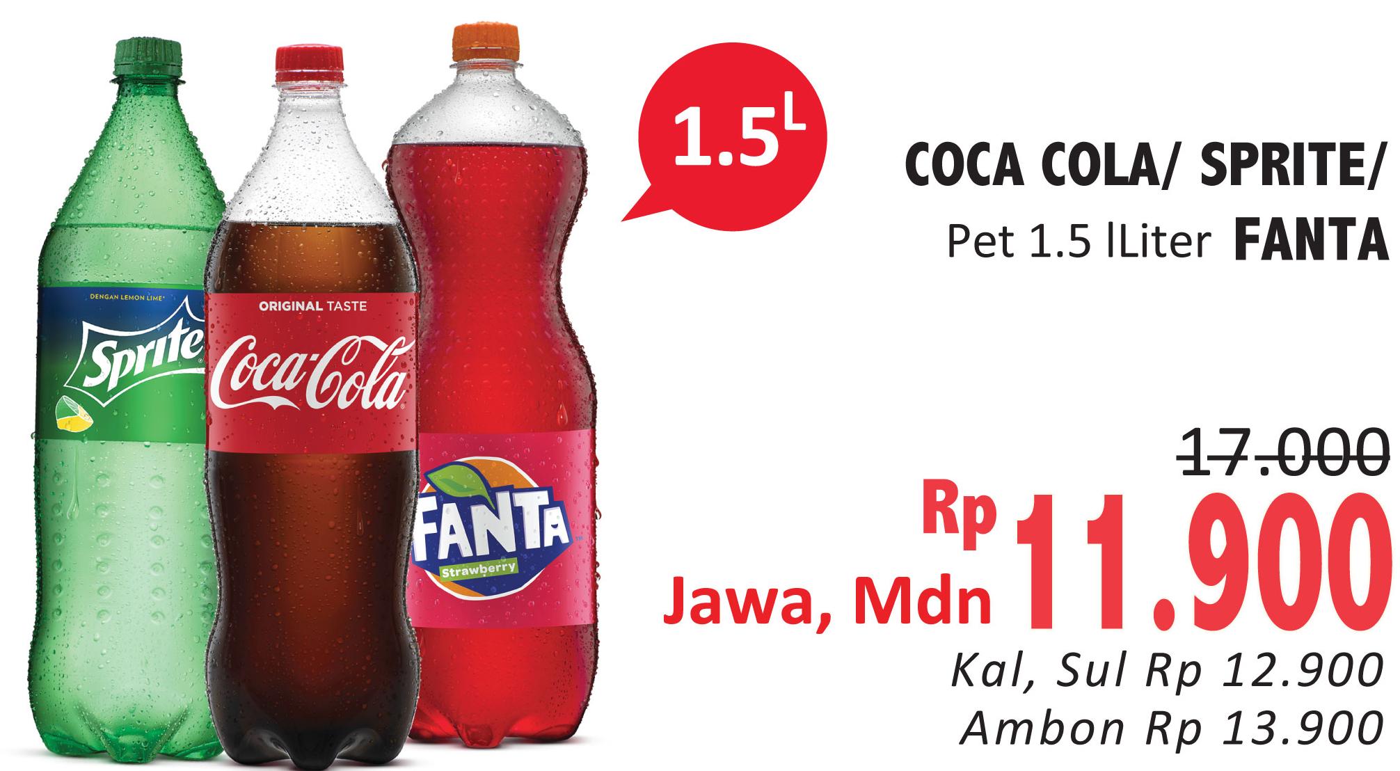 Promo Harga COCA COLA COCA COLA/FANTA/SPRITE 1500ml  - Alfamidi