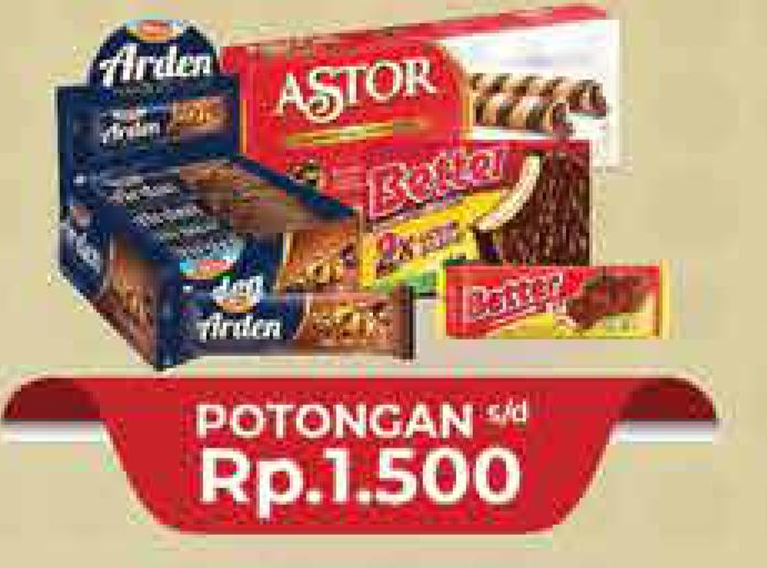 Promo Harga ASTOR ASTOR Wafer Roll/ ROMA Better Sandwich / Arden Choco   - Hypermart