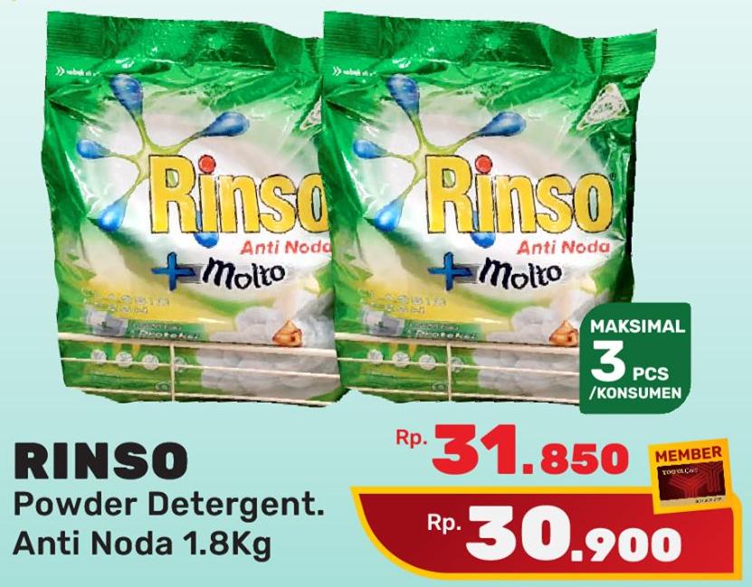 Promo Harga RINSO Anti Noda Detergent Bubuk Classic Fresh 1800 gr - Yogya
