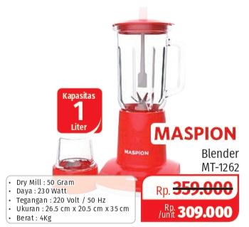 Promo Harga MASPION Blender MT 1262  - Lotte Grosir