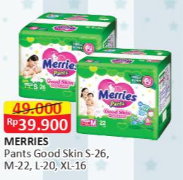 Promo Harga MERRIES Pants Good Skin S26, XL16, M22, L20 16 pcs - Alfamart