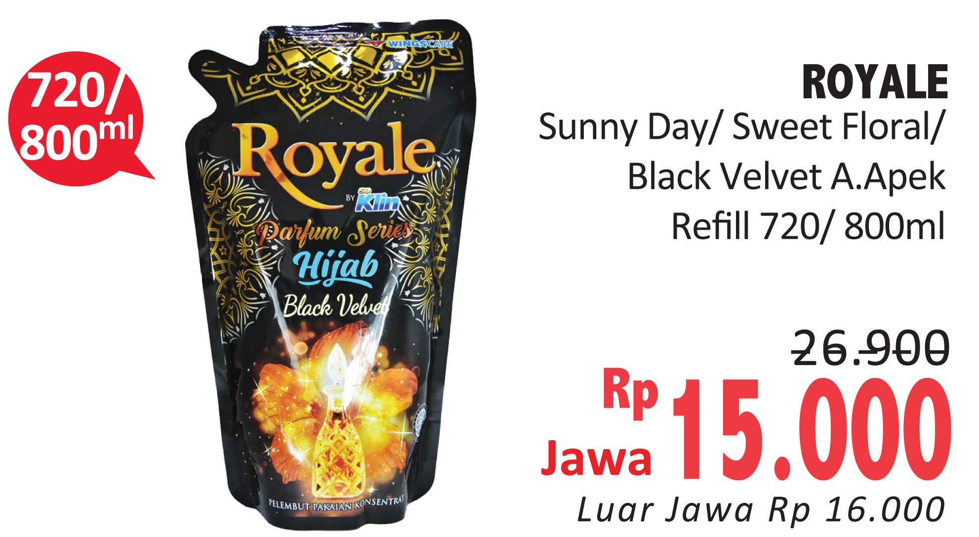 Promo Harga SO KLIN Royale Parfum Collection Black Velvet, Purple Dawn, Sunny Day, Sweet Floral 800 ml - Alfamidi